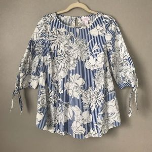 Isabel Maternity floral stripe 3/4th sleeve blouse